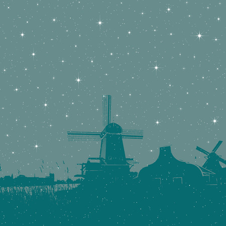 Starry winter holiday background windmills scene