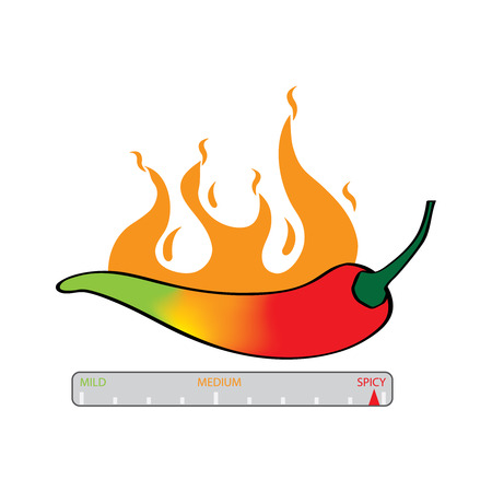 Illustration of chili spice meter different color stages green for mild yellow orange for medium and red for hot