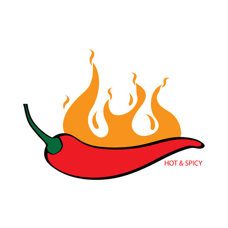 Illustration of red chili flaming hot and spicy