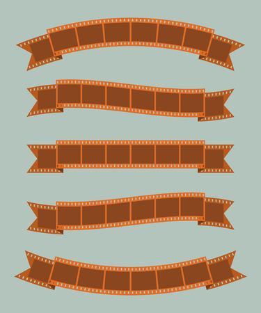 Set of vintage film strips ribbon seal decorative design element