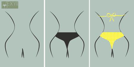 Set of sexy back graphic design element nude back, bikini topless and yellow polka dots bikini Vector