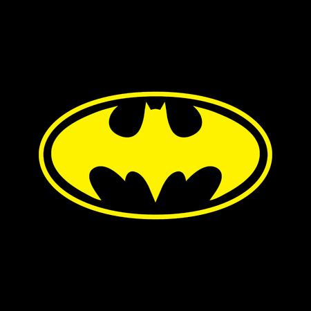 dc: DC comics supereroe Batman logo giallo su sfondo nero