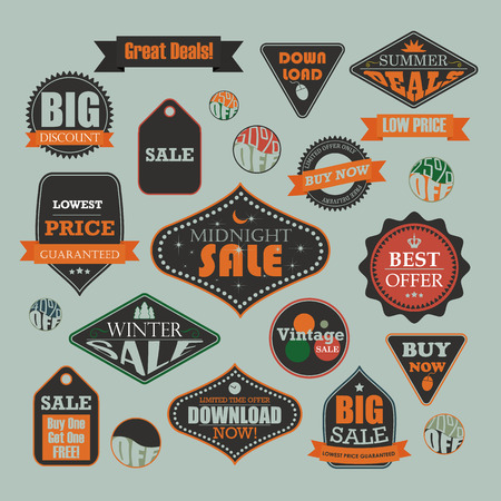 Set of retro vintage sale and promotional advertising labels Vector