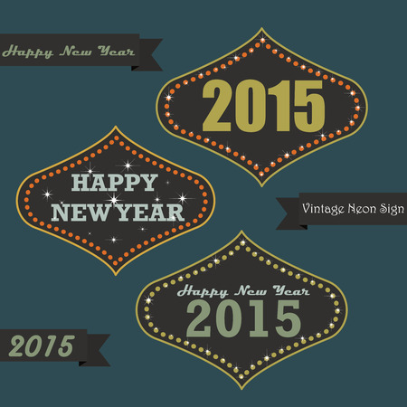 Set of vintage happy new year greeting messages on neon sign board