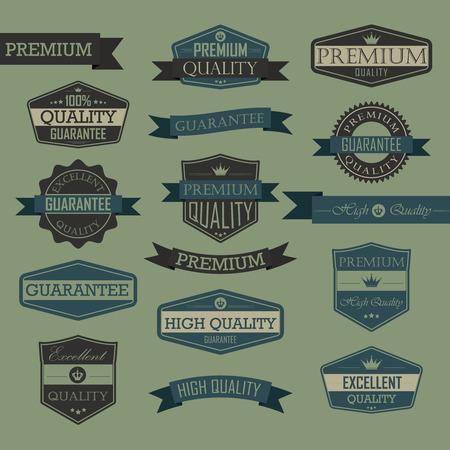 Set of vintage label quality seal, high quality, premium, guarantee, excellent quality 일러스트