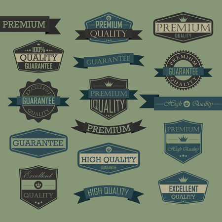 Set of vintage label quality seal, high quality, premium, guarantee, excellent quality Illustration