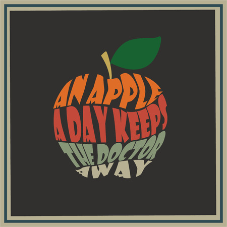 Vintage apple word collage An apple a day keeps the doctor away Vector