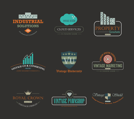 crown logo: Set of vintage theme abstract business and industry logo design element