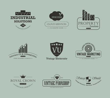 Set of vintage business and industry icon design element Illustration