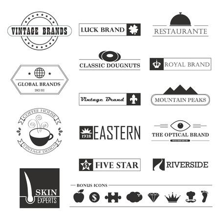 빈티지 브랜드 및 아이콘 디자인 요소의 집합