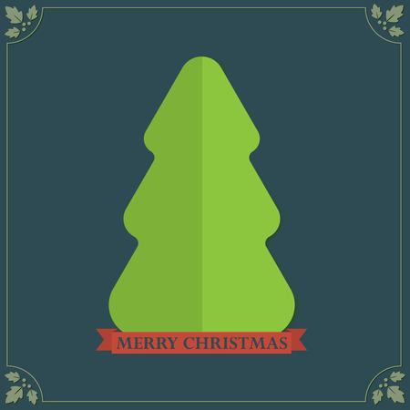 Vintage style folded paper texture Christmas tree holidays greetings