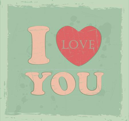Vintage I love you text valentines background