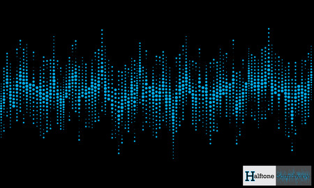 Halftone soundwave pattern modern music design element