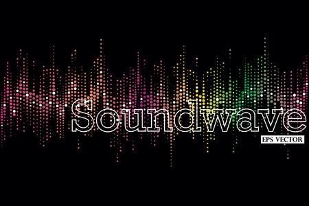 Halftone bunten Schallwelle Muster moderner Musik Designelement