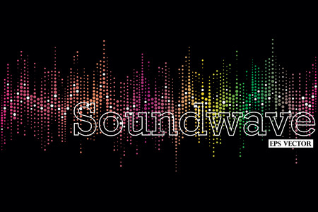 Halftone colorful sound wave pattern modern music design element Illustration