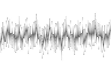 하프 톤 사운드 웨이브 패턴 현대 음악 디자인 요소 흰색 배경에 고립