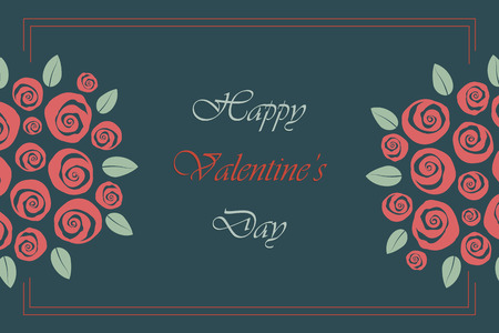 Valentine and wedding themed border bouquet of swirly roses Illustration