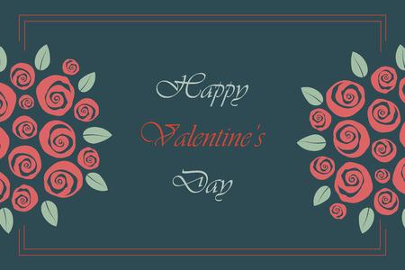 Valentine and wedding themed border bouquet of swirly roses Иллюстрация