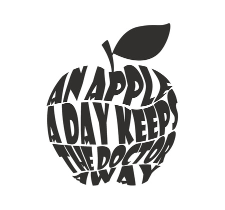keeps: An apple a day keeps the doctor away collage on white background