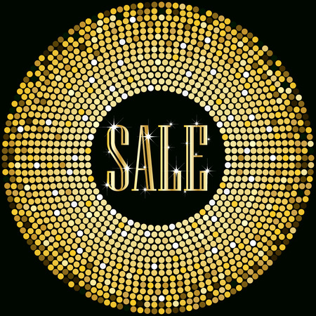 Golden Sale text promotion on glowing balls border design