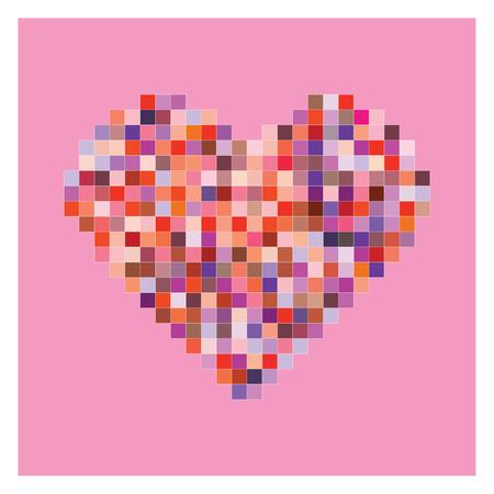 Colorful pixel heart shape in pink background. Valentine background. Illustration
