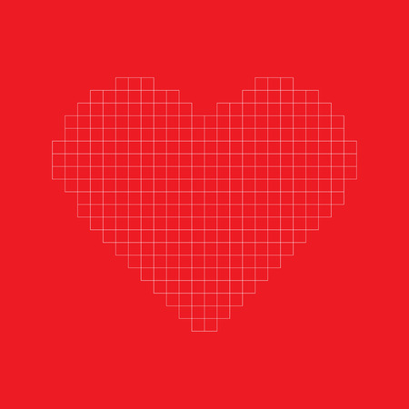 Modern valentine background pixel grid heart in red background Иллюстрация