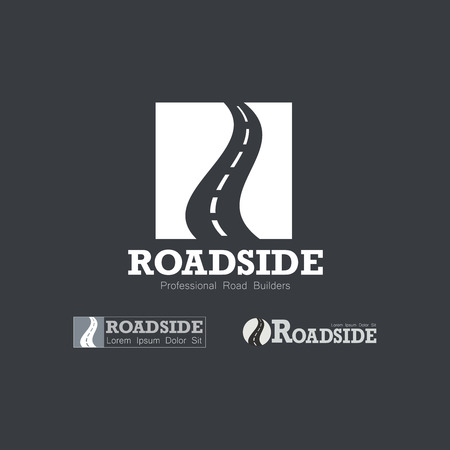 road construction: Letter R like Road type.  Travel, transportation, and roadworks related logo design element