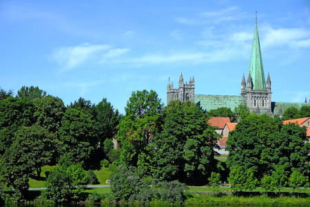 11th Centure Nidaros Cathedral in the City of Trondheim, Norway. Photo taken during Summer.