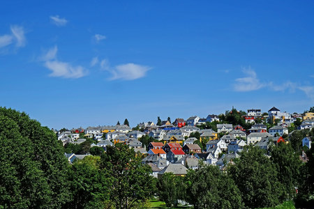 Traditional Norwegian houses in the city of Trondheim