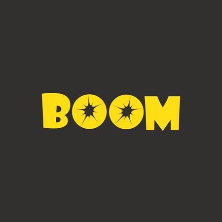 Modern bomb boom explosion logo type design vector Иллюстрация