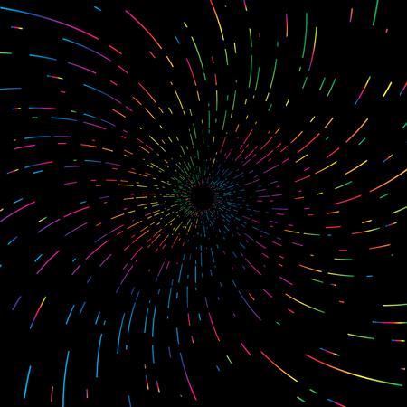Color spectrum spiral design black hole space warp concept graphic element