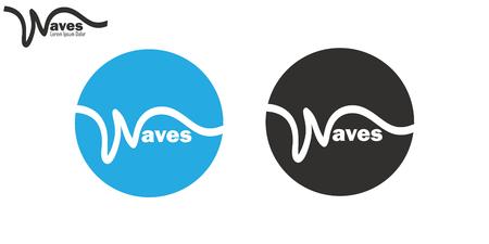 Wavy line waves logo set brand insignia clean wavy line design