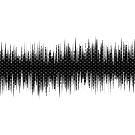 Modern halftone audio waves pattern abstract design element isolated on white background