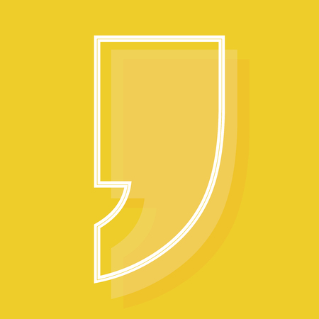 Yellow quote icon copy space for your text in yellow background