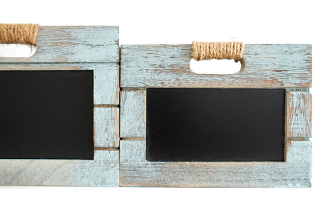 Two rustic wooden blue crate with chalkboard blackboard as copyspace for your custom text