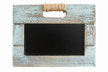 Rustic wooden blue crate with chalkboard blackboard as copyspace for your text