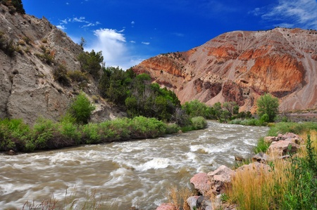 A fast flowing stream in utah with mountains in the background Banco de Imagens