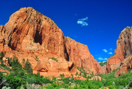 そびえ立つ奇岩ザイオン国立公園で。