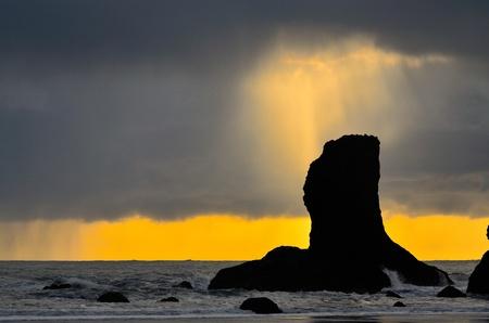 Shaft of light breaks through the cloud at Second Beach
