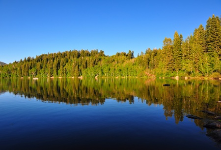 Serene lake in Utah with beautiful reflection of the mountain and trees. Banco de Imagens