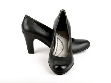 High Heel Black Leather Shoe with white background
