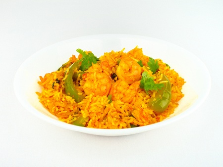 Traditional Indian spicy Shrimp fried Rice.