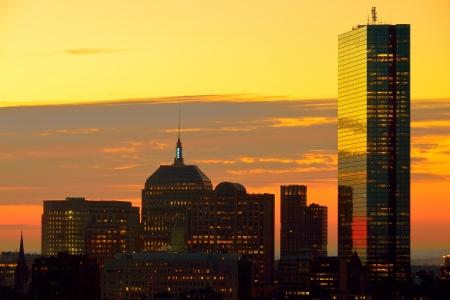 Dramatic sunrise over Boston Downtown as seen from Cambridge Banco de Imagens - 17069218