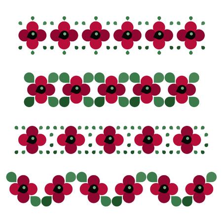 Set of poppy patterns - vector illustration Ilustrace