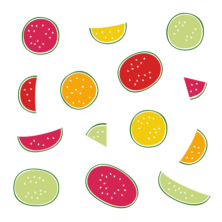Set of watermelon - vector illustration Illustration