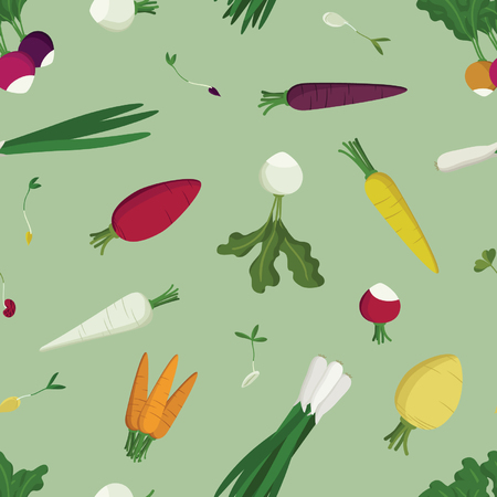Various vegetables and sprouts - vector background