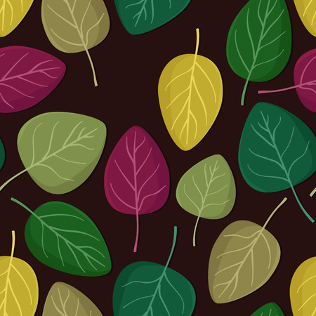 Colorful leaves seamless vector background