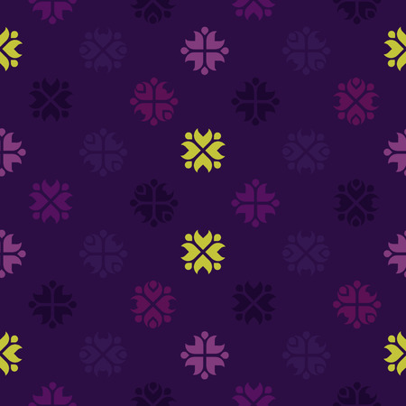 Purple vector background with rustic folk pattern