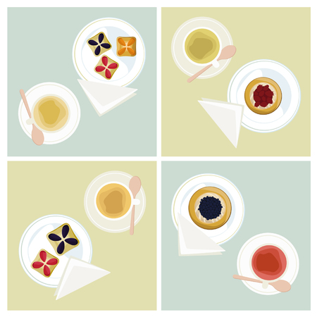 Tea and fruit pies - vector illustrations Banco de Imagens - 84123611