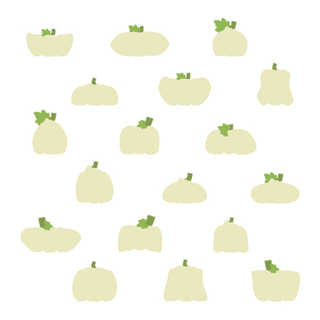 Set of pumpkins and squashes - vector illustration